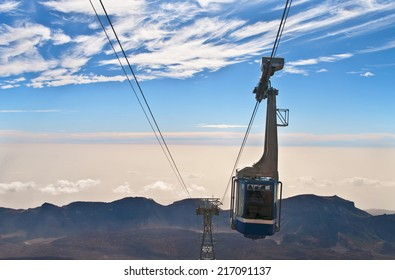 view of cable car over el teide national park