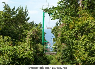 The view of a cable transporting tourists from Ocho Rios downtown to the top of Mystic Mountain (Jamaica).