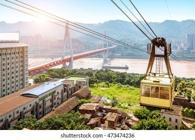 View from cableway over Yangtze river in Chongqing city (Chongqing, China)