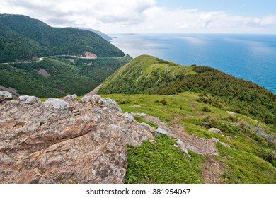 View of the Cabot Trail from the skyline walking trail, Cape Breton, Nova Scotia