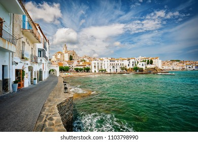 View of Cadaques on sunny day, Costa Brava, Spain