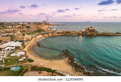 A view of Caesarea National Park with the Anceint Port in the foreground.