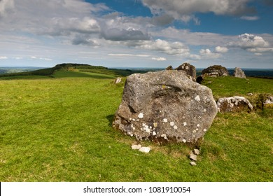 View from Cairnbane East of the Lough Crew Cairns site, County Meath Ireland, is also known as Hag's Mountain.