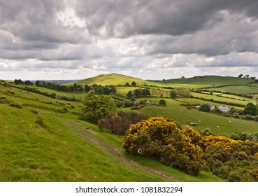 View from Cairnbane East of the Loughcrew Cairns site, County Meath Ireland, is also known as Hag's Mountain.
