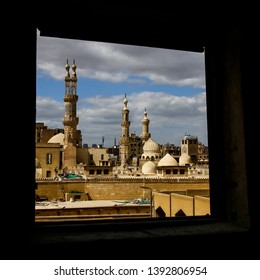 View of Cairo's minaret towers; Islamic Culture in Egypt with many mosques