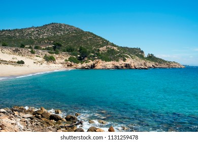 a view of the Cala de Gestell beach, in Hospitalet del Infant, Spain