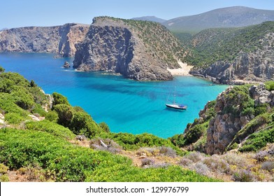 View of Cala Domestica beach, town of Buggerru, Sardinia, Italy