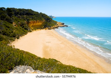 A view of Cala Fonda beach, in Tarragona, Spain