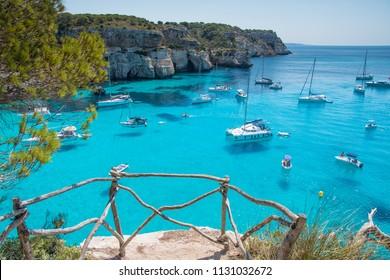 View of Cala Macarella beach in Menorca, Balearic Islands, Spain