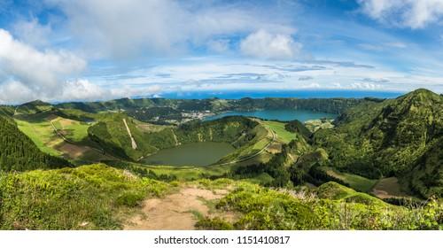 View to the Caldeira of Sete Cidades, Sao Miguel island, Azores, Portugal