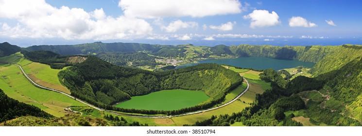View to the Caldeira of Sete Cidades from the viewpoint near Lgoa de Canario (Sao Miguel, Azores)