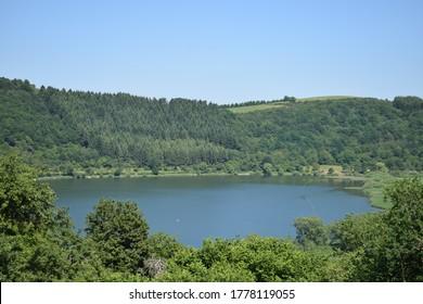 view to caldera lake Meerfelder Maar in the Eifel