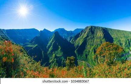 View of  caldera and mountains Cirque de Mafate from Cap Noir, Dos D'ane, Reunion Island