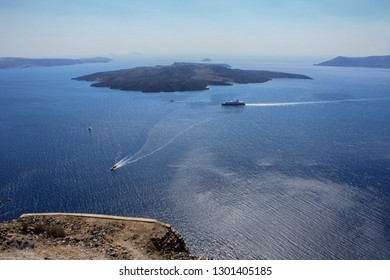 View of the caldera off the coast of Santorin in the waters of the Aegean Sea in Greece