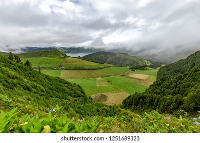 View of calderas and lakes at the edge of the Sete Cidades Caldera on the island of Sao Miguel in the Azores.