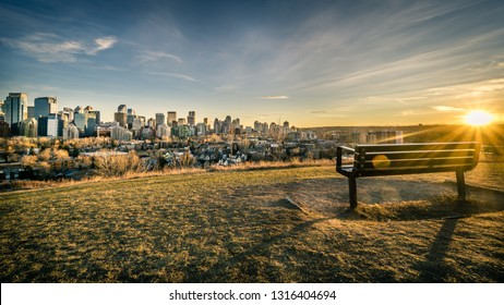 View of Calgary downtown with bench at foreground, Canada