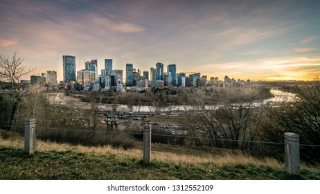 View of Calgary downtown during sunset, Canada