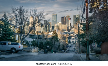 View of Calgary downtown from street, Alberta, Canada