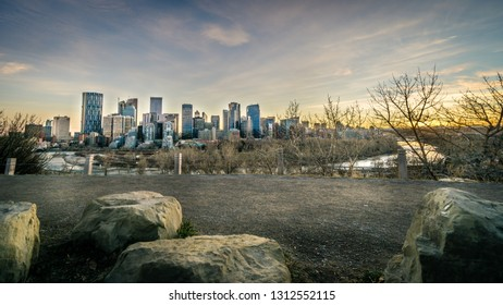 View of Calgary skylines during sunset, Canada