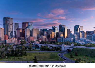 View of Calgary's skyline at night along the Bow river.