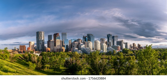 View of Calgary's skyline on a beautiful spring evening.