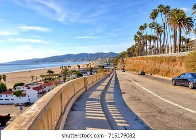 View of California coastal highway at Santa Monica beach