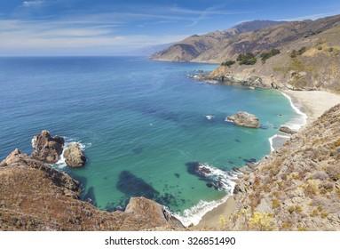 View of the California coastline along Pacific Coast Highway, USA.