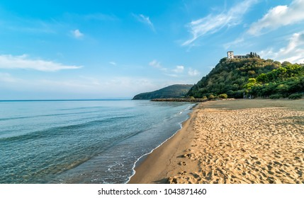 View of calm sea and Punta Ala beach in Tuscany, Italy
