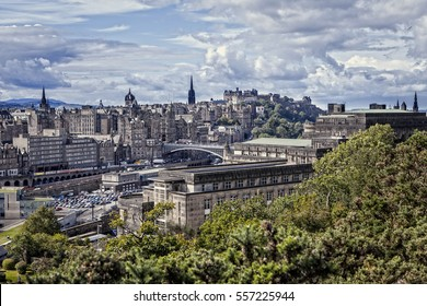 View from Calton Hill in Edinburgh in Scotland, on the Old Town and Edinburgh Castle