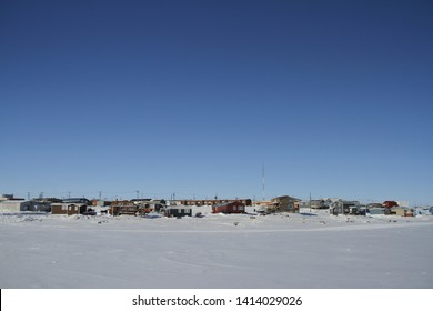 View of Cambridge Bay, Nunavut, a far northern arctic community, during a sunny winter day