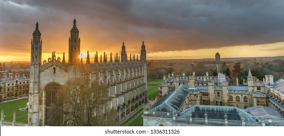 The view of Cambridge with beautiful sunset sky, UK