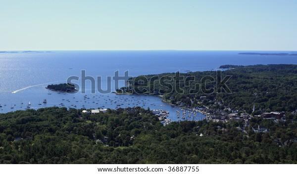 View of Camden harbor and Atlantic ocean from Mount Battie in Camden Hills State Park