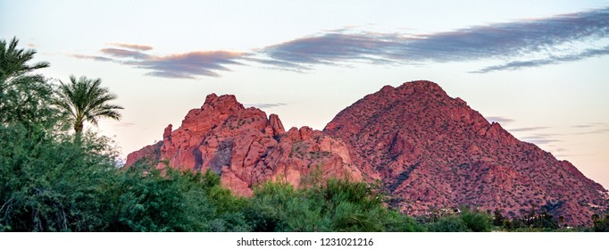 View of Camelback Mountain with Praying Monk Rock in Phoenix, Arizona, USA. Web Banner with room for text.