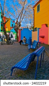 View of Caminito Street in Barrio de La Boca in Buenos Aires, Argentina. This is a popular tourist destination.