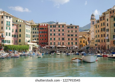 View of Camogli from the sea, Liguria, Italy