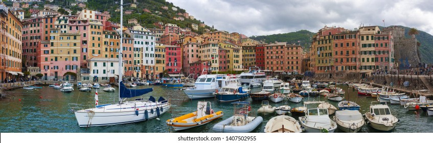View of the Camogli's city on the Ligurian Riviera in Italy whit its porto.