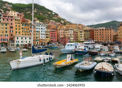 View of the Camogli's city on the Ligurian Riviera in Italy with its porto.