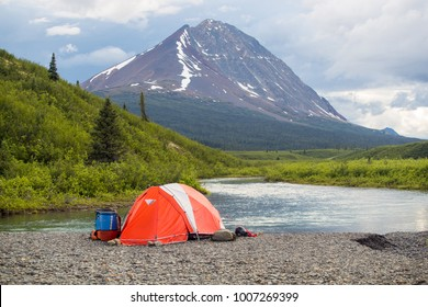 View of camp life while on the Nahanni in the Northwest Territories, Canada.