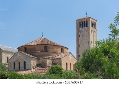 View of the Campanile Santa Maria Assunta, Torcello, Venice / Italy, in cloudless sky