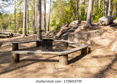 View of a campfire site in Repovesi National Park, Kouvola, Finland