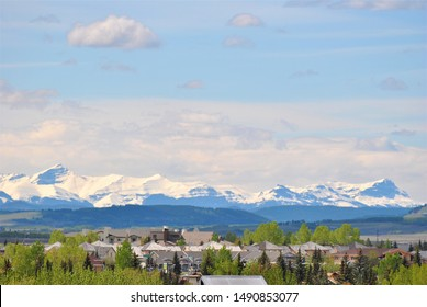 View of the Canadian Rockies from the Cochrane Town, Canada