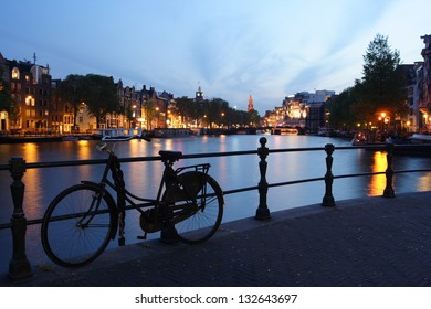 View of the canal in Amsterdam at night