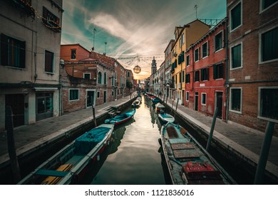 View of canal with gondolas in Venice, Italy