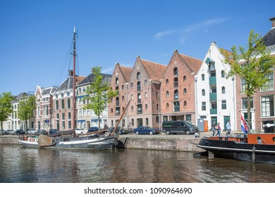 View at canal and houses at groningen, netherlands