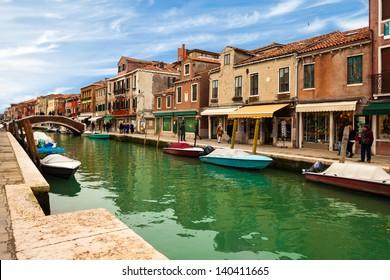 View of canal in Murano Island, Veneto, Italy.