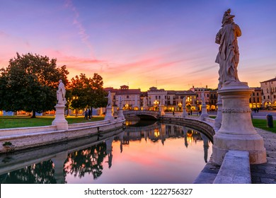 View of the canal with statues on Prato della Valle in Padova (Padua), Veneto, Italy