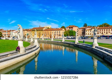 View of canal with statues on square Prato della Valle in Padova (Padua), Veneto, Italy