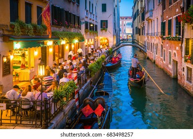 View of canal in Venice Italy at night
