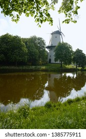 View from the canal to the windmill in Middelburg