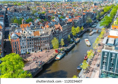 View of canals in Amsterdam, Netherlands